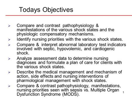 1 Todays Objectives  Compare and contrast pathophysiology & manifestations of the various shock states and the physiologic compensatory mechanisms. 