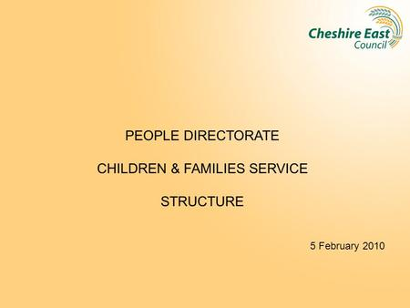 PEOPLE DIRECTORATE CHILDREN & FAMILIES SERVICE STRUCTURE 5 February 2010.