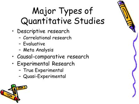 Major Types of Quantitative Studies Descriptive research –Correlational research –Evaluative –Meta Analysis Causal-comparative research Experimental Research.
