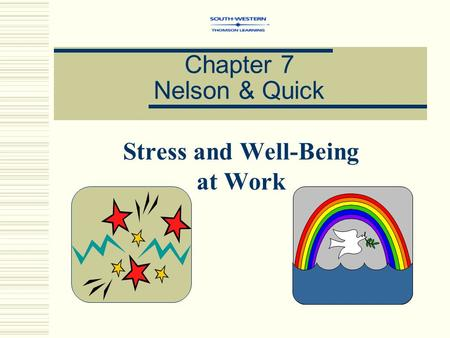 Chapter 7 Nelson & Quick Stress and Well-Being at Work.