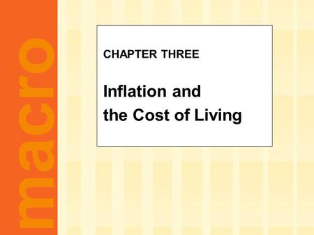 Macro CHAPTER THREE Inflation and the Cost of Living.