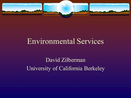 Environmental Services David Zilberman University of California Berkeley.