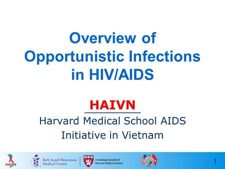1 Overview of Opportunistic Infections in HIV/AIDS HAIVN Harvard Medical School AIDS Initiative in Vietnam.