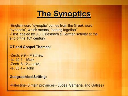 gospel of john vs synoptics essay