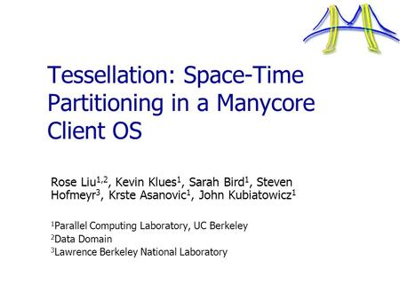 Tessellation: Space-Time Partitioning in a Manycore Client OS Rose Liu 1,2, Kevin Klues 1, Sarah Bird 1, Steven Hofmeyr 3, Krste Asanovic 1, John Kubiatowicz.