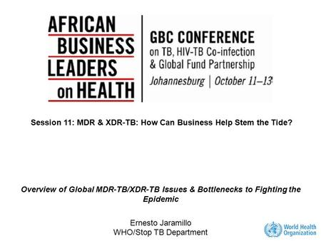 Session 11: MDR & XDR-TB: How Can Business Help Stem the Tide?
