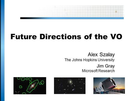 Future Directions of the VO Alex Szalay The Johns Hopkins University Jim Gray Microsoft Research.