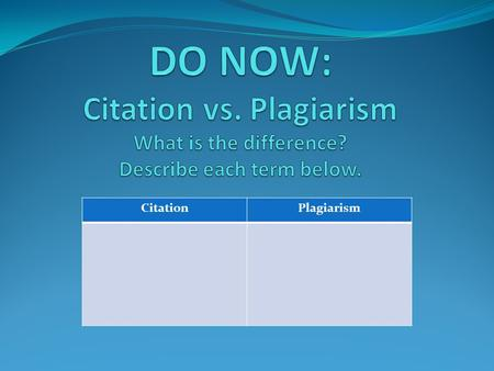 CitationPlagiarism. Definition of plagiarism: Many people think of plagiarism as copying another's work, or borrowing someone else's original ideas. But.