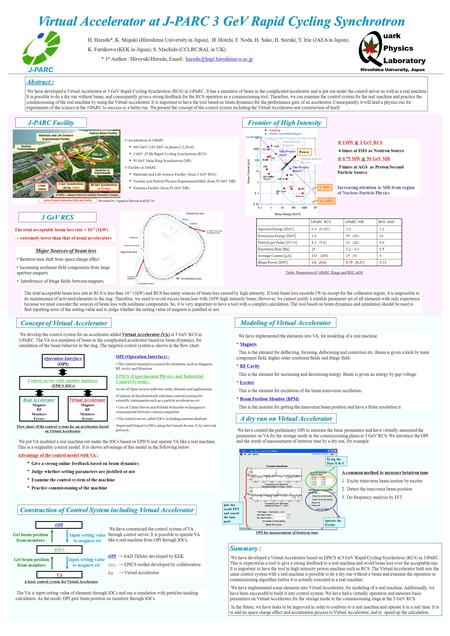 Virtual Accelerator at J-PARC 3 GeV Rapid Cycling Synchrotron H. Harada*, K. Shigaki (Hiroshima University in Japan), H. Hotchi, F. Noda, H. Sako, H. Suzuki,