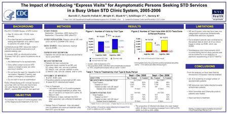 "The Impact of Introducing ""Express Visits"" for Asymptomatic Persons Seeking STD Services in a Busy Urban STD Clinic System, 2005-2006 Borrelli J 1, Paneth-Pollak."