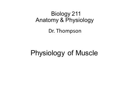 Biology 211 Anatomy & Physiology I Dr. Thompson Physiology of Muscle.