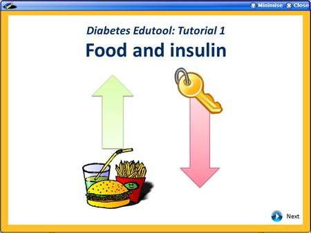 Diabetes Edutool: Tutorial 1 Food and insulin. Introduction During these tutorials, the individual effects that can affect the blood glucose will first.