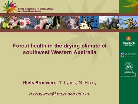 Forest health in the drying climate of southwest Western Australia Niels Brouwers, T. Lyons, G. Hardy