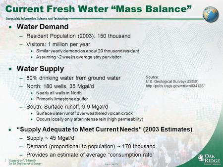 "1Managed by UT-Battelle for the Department of Energy Overview_kpt_0730 Current Fresh Water ""Mass Balance""  Water Demand –Resident Population (2003): 150."