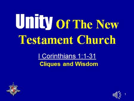 "1. 2 I. Unity – An Important Characteristic Of The Church  1. Jesus prayed for it  Jn. 17:20-22  ""Neither pray I for these alone, but for them also."