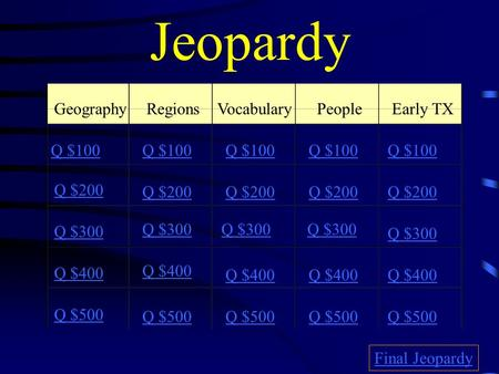 Jeopardy GeographyRegionsVocabularyPeople Early TX Q $100 Q $200 Q $300 Q $400 Q $500 Q $100 Q $200 Q $300 Q $400 Q $500 Final Jeopardy.