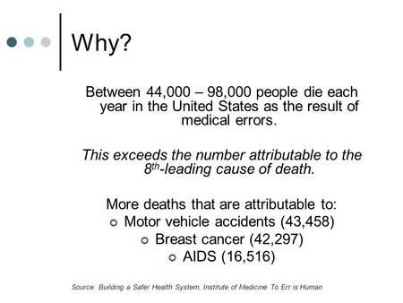 Why? Between 44,000 – 98,000 people die each year in the United States as the result of medical errors. This exceeds the number attributable to the 8 th.