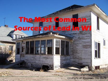 Courtesy of: Anne Hall, RN BSN completion student University of Wisconsin- Eau Claire The Most Common Sources of Lead in WI.