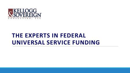 THE EXPERTS IN FEDERAL UNIVERSAL SERVICE FUNDING.
