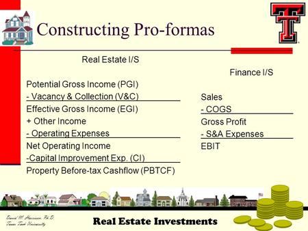 Real Estate Investments David M. Harrison, Ph.D. Texas Tech University Constructing Pro-formas Real Estate I/S Potential Gross Income (PGI) - Vacancy &