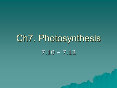 Ch7. Photosynthesis 7.10 – 7.12. How the ETC helps create ATP & NADPH.