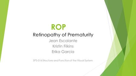 ROP Retinopathy of Prematurity Jean Escalante Kristin Filkins Erika Garcia SPE-516 Structure and Function of the Visual System.