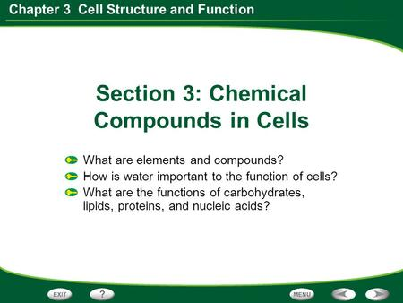 Section 3: Chemical Compounds in Cells