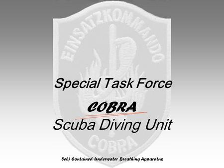 Special Task Force COBRA Scuba Diving Unit Self Contained Underwater Breathing Apparatus.