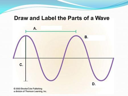 A. D. C. B. Draw and Label the Parts of a Wave. How is the ocean floor studied??