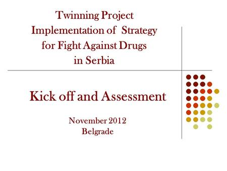 Twinning Project Implementation of Strategy for Fight Against Drugs in Serbia Kick off and Assessment November 2012 Belgrade.