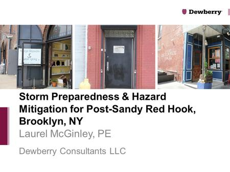 Laurel McGinley, PE Dewberry Consultants LLC Storm Preparedness & Hazard Mitigation for Post-Sandy Red Hook, Brooklyn, NY.