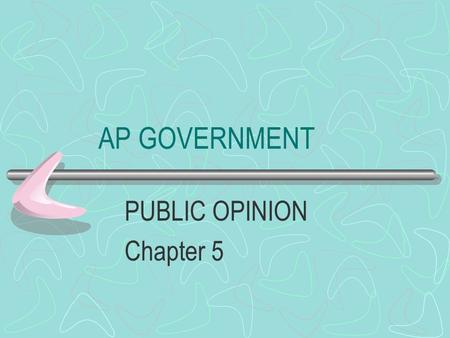 AP GOVERNMENT PUBLIC OPINION Chapter 5 PUBLIC OPINION The aggregate of individual attitudes or beliefs by some portion of the adult population No ONE.