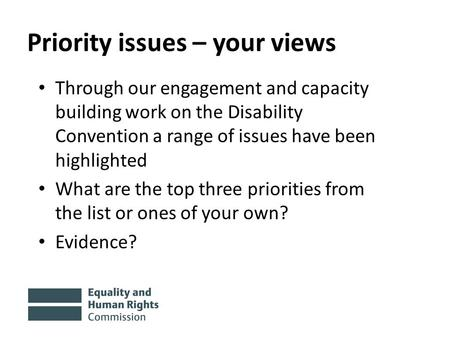 Priority issues – your views Through our engagement and capacity building work on the Disability Convention a range of issues have been highlighted What.