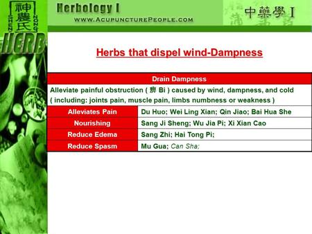 Herbs that dispel wind-Dampness Drain Dampness Alleviate painful obstruction ( 痹 Bi ) caused by wind, dampness, and cold ( including: joints pain, muscle.