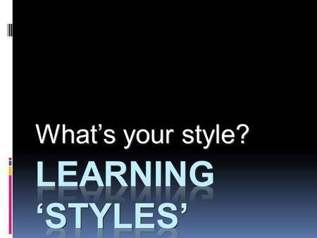 What's your style?. Learning Objectives  Review past learning experiences to discover what you believe about yourself as a learner  Identify your strengths.