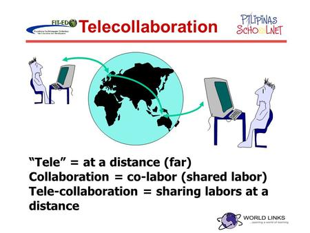 """Tele"" = at a distance (far) Collaboration = co-labor (shared labor) Tele-collaboration = sharing labors at a distance Telecollaboration."