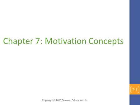 Chapter 7: Motivation Concepts