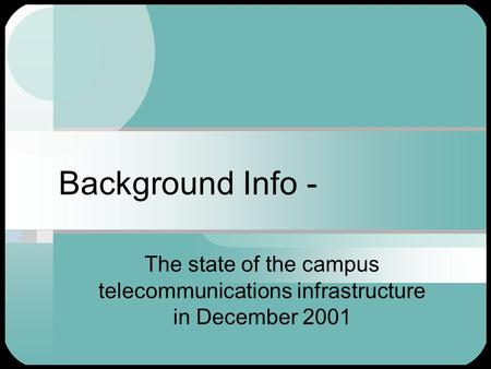 Background Info - The state of the campus telecommunications infrastructure in December 2001.
