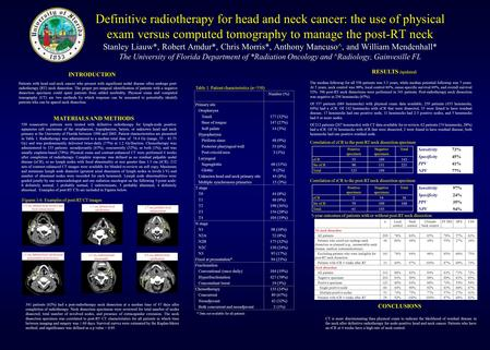 Definitive radiotherapy for head and neck cancer: the use of physical exam versus computed tomography to manage the post-RT neck Stanley Liauw*, Robert.