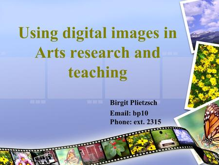 Using digital images in Arts research and teaching Birgit Plietzsch Email: bp10 Phone: ext. 2315.