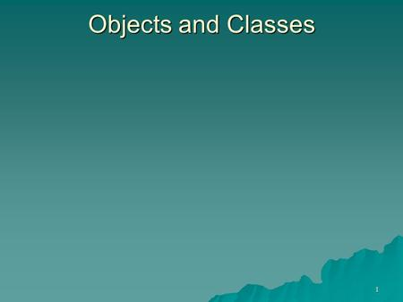 1 Objects and Classes. 2 OO Programming Concepts Object-oriented programming (OOP) involves programming using objects. An object represents an entity.
