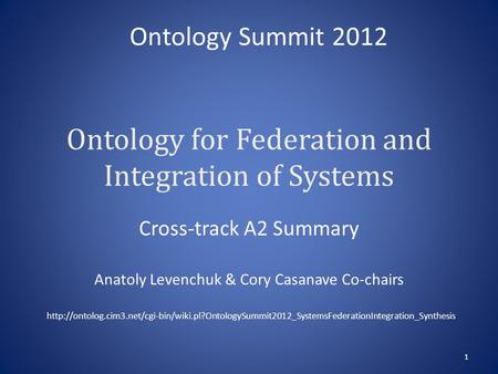 Ontology for Federation and Integration of Systems Cross-track A2 Summary Anatoly Levenchuk & Cory Casanave Co-chairs 1 Ontology Summit 2012