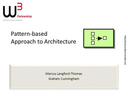 Pattern-based Approach to Architecture Marcus Langford-Thomas Graham Cunningham Marcus Langford-Thomas Graham Cunningham
