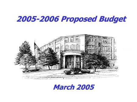 2005-2006 Proposed Budget March 2005. 2005-06 Budget Proposed Personnel Personnel HS Guidance Counselor$ 60,000 Teacher – Autistic Program$ 65,000 2 Aides.
