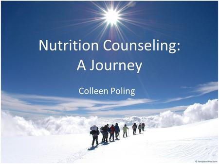 Nutrition Counseling: A Journey Colleen Poling. The Client at the time of session one: Demographics: Age: 52 YO Race: White Material Status: Single Sex: