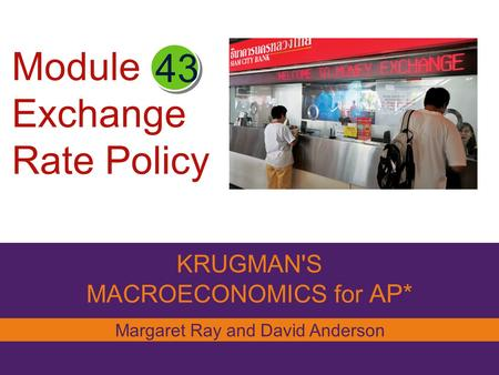 Module Exchange Rate Policy KRUGMAN'S MACROECONOMICS for AP* 43 Margaret Ray and David Anderson.