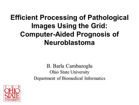 Efficient Processing of Pathological Images Using the Grid: Computer-Aided Prognosis of Neuroblastoma B. Barla Cambazoglu Ohio State University Department.
