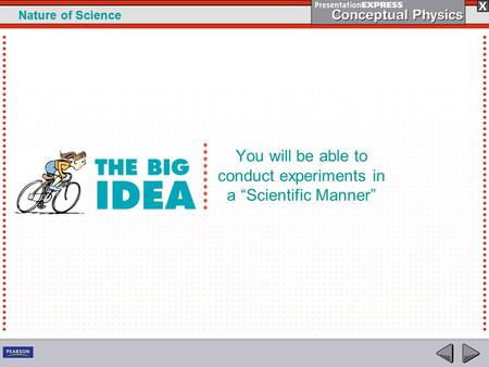 "1 Nature of Science You will be able to conduct experiments in a ""Scientific Manner"""