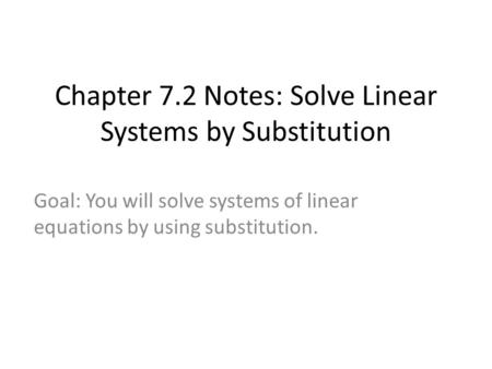 how to solve linear systems by substitution