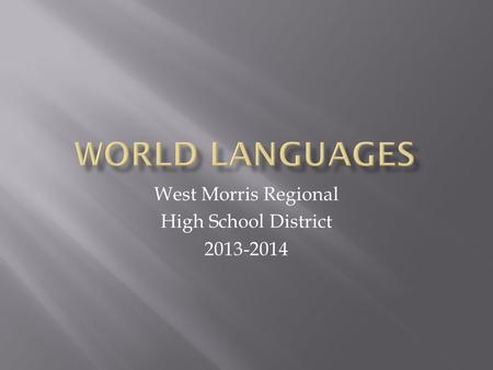 West Morris Regional High School District 2013-2014.